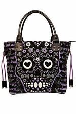 Black Gothic Punk Rockabilly Purple Sugar Skull Shoulder Bag Tote BANNED Apparel