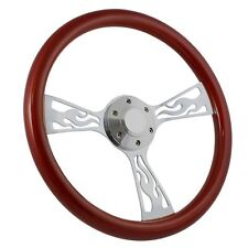 """Flamed Chrome and Mahogany 15"""" Steering Wheel - Hot Rod, Rat Rod, Muscle Car"""