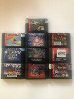 Sega Genesis 10 Game lot - All Tested - Sonic Spinball, Prima Rage, Wwf,Ect - IL