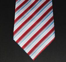 Pure silk mens striped tie red white and blue herringbone stripes VGC