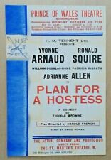 Plan For A Hostess small leaflet/flyer Prince Of Wales Theatre Birmingham 1938