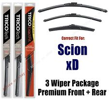 Wipers 3-Pack Premium Front & Rear - fits 2008-2014 Scion xD - 19260/130/8A