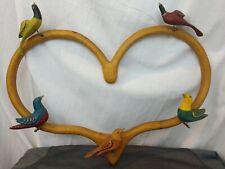 Walter & June Gottshall Folk Art Carved Wood Birds & Heart Wall Hanging Art