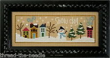 Lizzie Kate Snow Day F115 Snowman Cross Stitch Pattern with Snowflake Button