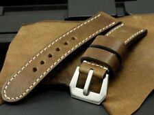 24mm Vintage Wooden Brown Calf Leather for Panerai Watch Strap Band + GPF Buckle