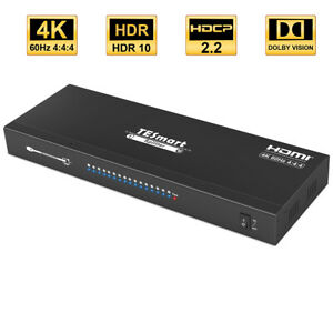 TESmart 1 in 16 out 4K@60Hz 1X16 HDMI Splitter HDCP2.2 Support HDR10 and Dolby