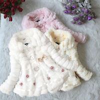 Toddler Kids Girls Faux Fur Fleece Jacket Winter Warm Bow Coat Outwear Snowsuit