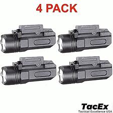 4 Pack Tactical Pistol Gun Flashlight Torch Light for 20mm Rail 600 LM
