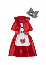 Girls Little Red Riding Hood Fancy Dress Up Costume Outfits with wolf mask 9-10