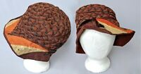 True 1920s Vintage Cloche Hat w Lame & Velvet Ribbon 20s Antique Warm Colors