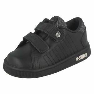 21211013- Garçons K-Swiss Noir / Cuir Gris Chaussures de Sport Lozan II Bracelet