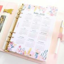 2018 Calendar Index Paper Divider 6 Holes Diary Binder Weekly Planner Sheet New