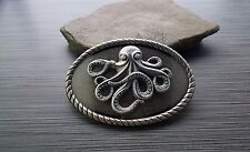Handmade Antique Silver Octopus Belt Buckle