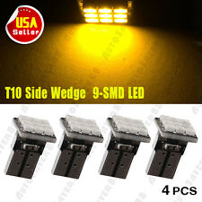4X Amber Yellow T10 W5W 192 168 194 158 Wedge 9-SMD LED Car Interior Side Light