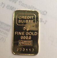 Credit Suisse 5 Grams Fine Gold Bar 999.9 Pendant with 14K Yellow Gold Frame