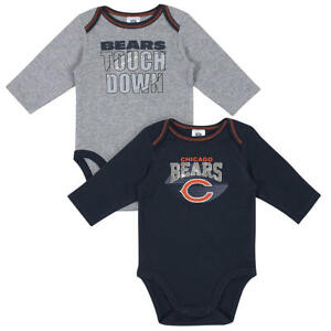 Chicago Bears NFL 2-Pack Long-sleeve Baby Bodysuit Set, Size 3-6 Months - NWT