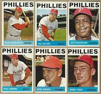 1964 Topps PHILLIES 6 Card Lot: Dalrymple McLish Covington Brown Mauch Wine - EX