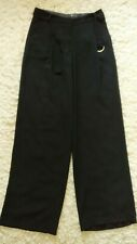 By F&F Ladies Size 6 Plain Black Smart Casual Trousers With Belt W27 X 30L