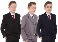 Boys Suit 1-15 Black Navy or Grey Includes Jacket Waistcoat Trousers Shirt & Tie