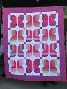 Quilt Butterflies All Over Hand Made All New Cotton 54 x 64.5 Pink & Purple