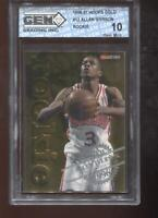 Allen Iverson RC 1996-97 NBA Hoops GOLD #12 HOF 76ers Rookie GEM MINT 10