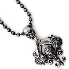 "NEW PUNK JEWELRY SKELETON SKULL DESIGN PENDANT 26"" BALL CHAIN NECKLACE #GYON202G"