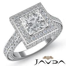 Halo Pavé Anillo de Compromiso Diamante Princesa GIA i Color SI1 14k Oro Blanco