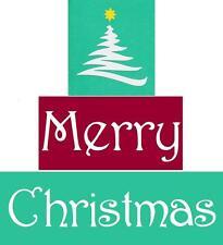 Stencil Christmas Blocks Set of 3 Christmas Tree Festive Merry Christmas