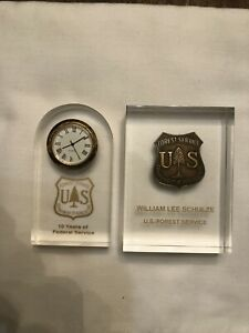 Vintage US Forest Service Badge, 10 Year Service Clock & other memorabilia