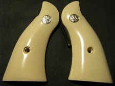 Smith Wesson K/L-Frame SMOOTH Bonded Ivory Grips SQUARE-Butt w/Silver Medallions