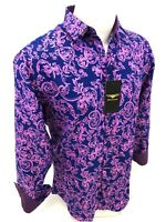 Mens PREMIERE Long Sleeve Button Down Dress Shirt PINK BLUE PAISLEY DESIGNER 622
