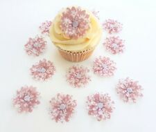 14 Edible Ditsy Dark Pink 3D Flowers Pre Cut Wafer Cupcake Toppers