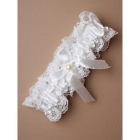 NEW Off white lace and ribbon pearl bead and bow wedding bride garter