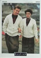 "Hayfield Knitting Pattern Cable Cardigans Mens Ladies Aran 30-44"" Vintage 00945"