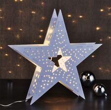 Stella di Legno Decorazione Illuminazione Natale Invernale con LED Bianco