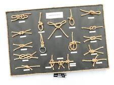 TRES JOLI ANCIEN TABLEAU DE NOEUDS MARINS - CORDES EN CHANVRE