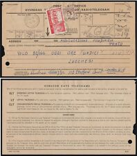 SG537 1957 Waterlow 5/- Castle on P.O Telegram form with 5d. Wilding. E2580