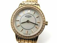 Rotary Ladies Rose Gold Plated Diamond Set Bracelet Watch LB00244/41