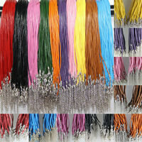 100pcs Real Leather String 18 inches Necklace Lobster Clasp Chain Thread Cords