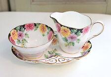 Vintage Paragon Bone China Mums Pattern Creamer Open Sugar Bowl Tray Set Gold