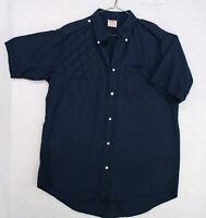 Vtg 70s CHIMERE INC Criterium Navy Blue Shoulder Pad Shooting Shirt Men's Large