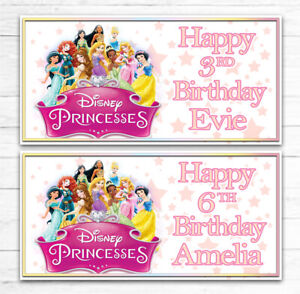 2 PERSONALISED DISNEY PRINCESS BIRTHDAY BANNERS ANY AGE ANY NAME