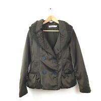 Max Mara Sportmax Jacket S Army Green Coat Cotton Women's Double Breasted