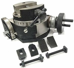 """4""""/100 MM TILTING MILLING INDEXING ROTARY TABLE+M6 CLAMP KIT & 100MM ROUND VICE"""