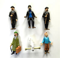 6pcs Les aventures de Tintin Neigeux Capitaine Haddock Thompson Figure