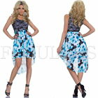 Sexy High Low Floral Print Dress Evening Christmas Summer Size 10 8 6 / XS S M