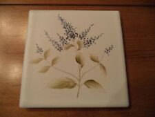 "Vintage Handpainted 3 5/8"" Tile Floral (Blue #2)~Japan ~ACCENT/CRAFTS/BACKSPLASH"