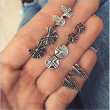 5Pairs Geometric Peace Sign Fatima Hand Triangle Silver Earrings Set for Women