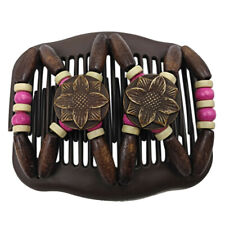 Retro Bead Stretchy Women Hair Combs Double Magic Wooden Comb Clip Hairpins CA