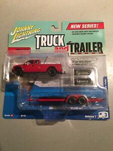 FREE SHIP JOHNNY LIGHTNING TRUCK/TRAILER  2 CAR SET RED 2004 FORD F-250/TRAILOR